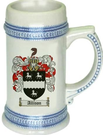 Allison Coat of Arms / Family Crest tankard stein mug