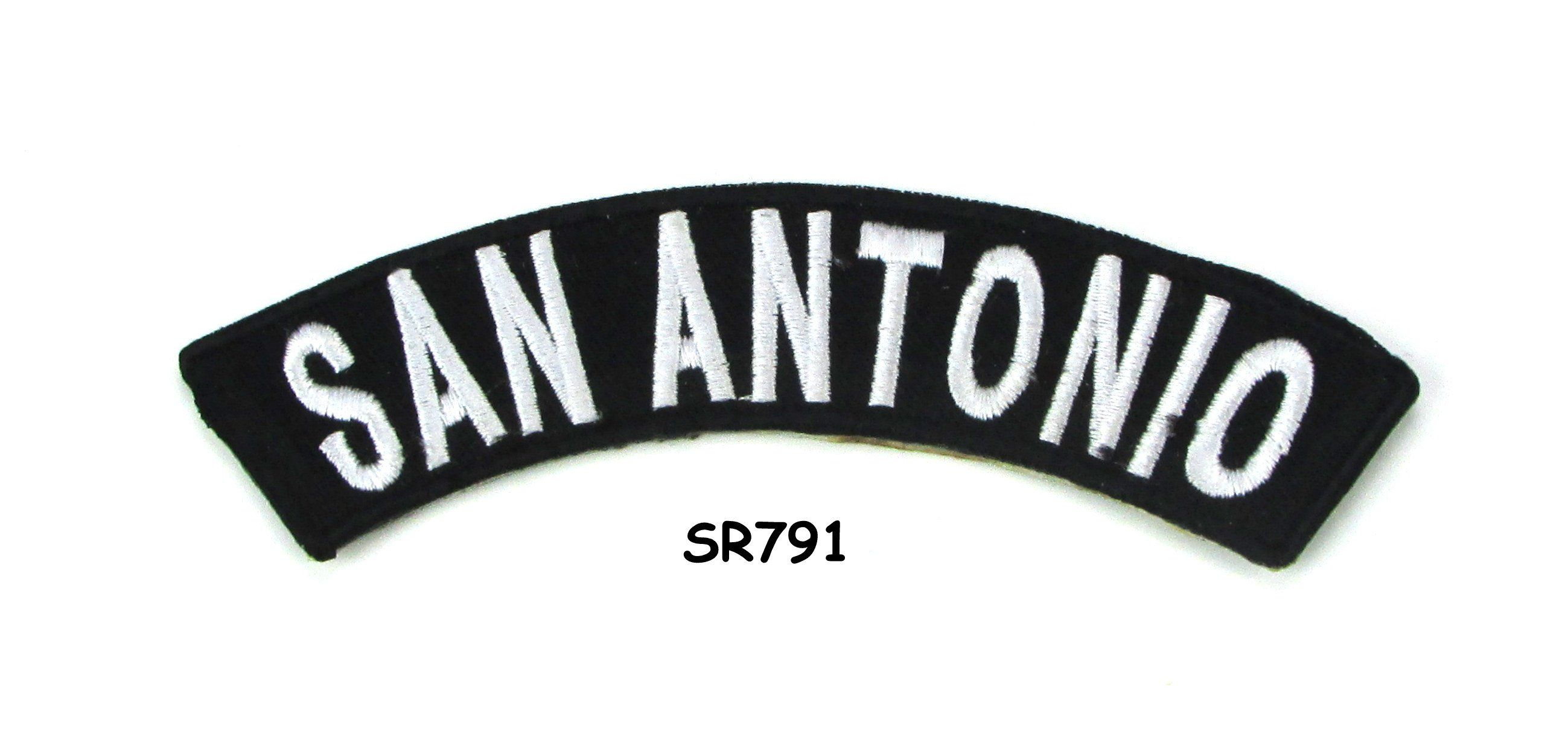 San Antonio White on Black Small Rocker Iron on Patches for Biker Vest and Jacke