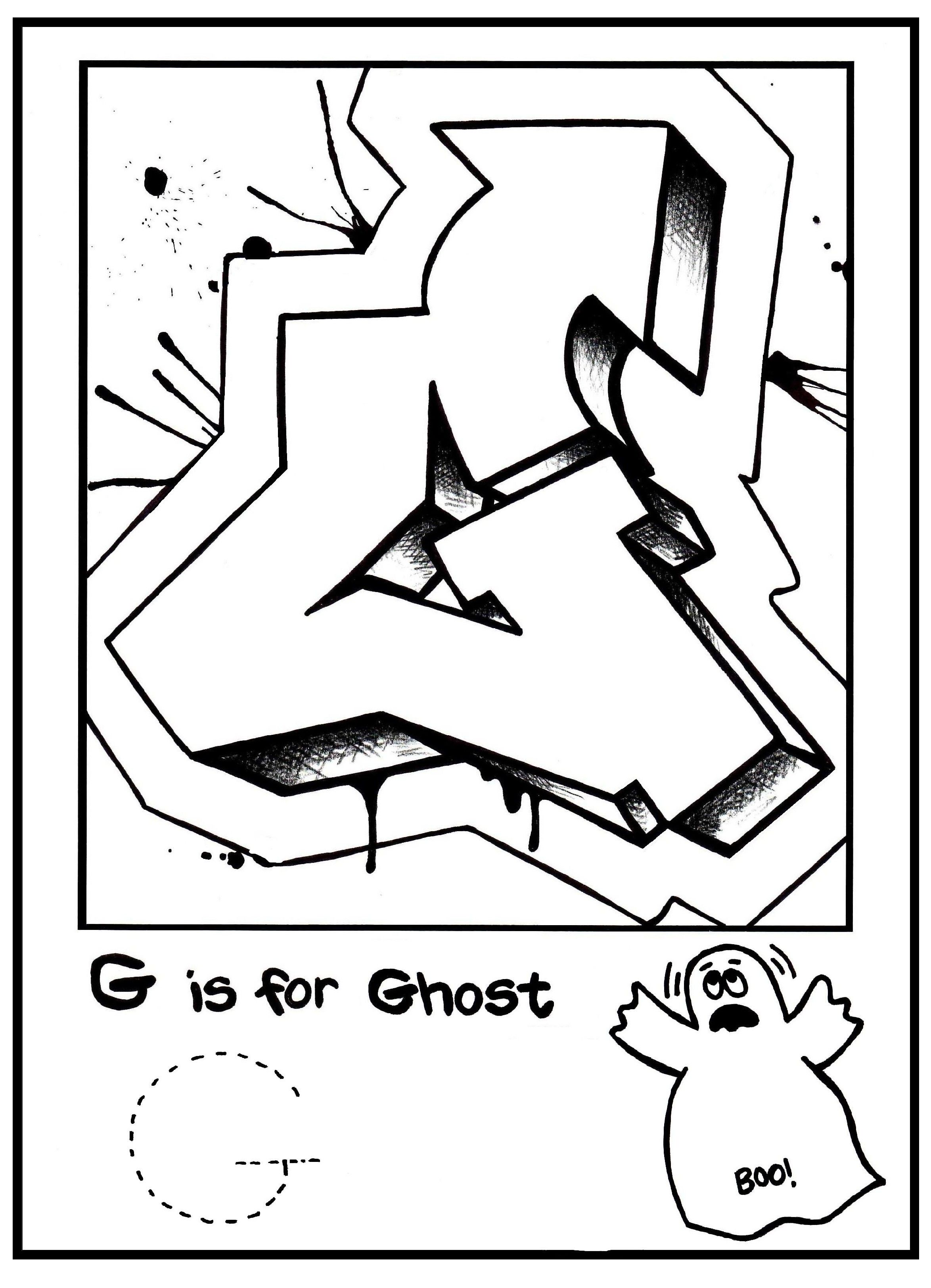 Alphabet Coloring Pages Free Printable Graffiti Letters