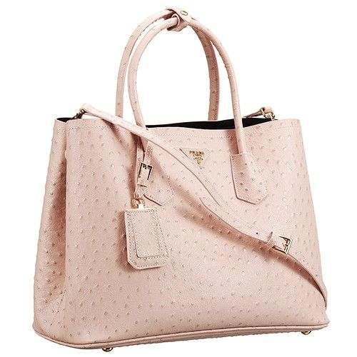 72e731f43fd Prada Double Tote Ostrich Leather Bag Light Pink. The soft shade of pink  catches the eye