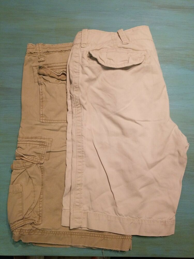 3468680ce9 Lot Of 2 MENS CARGO Shorts KHAKI BEIGE TAN 6 Pockets Size 36 100% Cotton