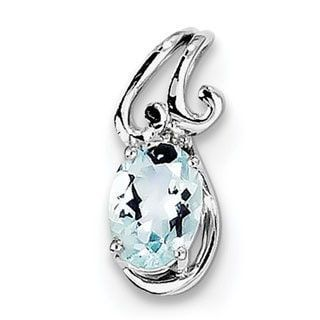 Versil Sterling Silver Rhodium Plated Dia. & Aquamarine Oval Pendant With Chain