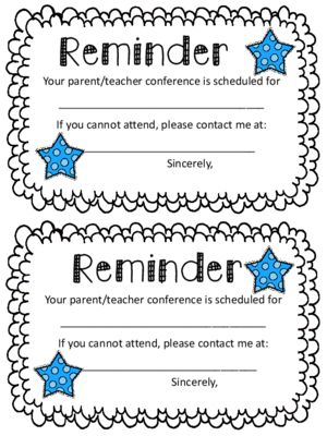 Parent Conference Reminder Note from Oh Miss Jill on ...