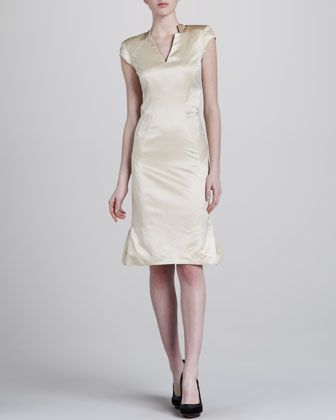 Sateen V-Neck Dress by Zac Posen at Neiman Marcus.