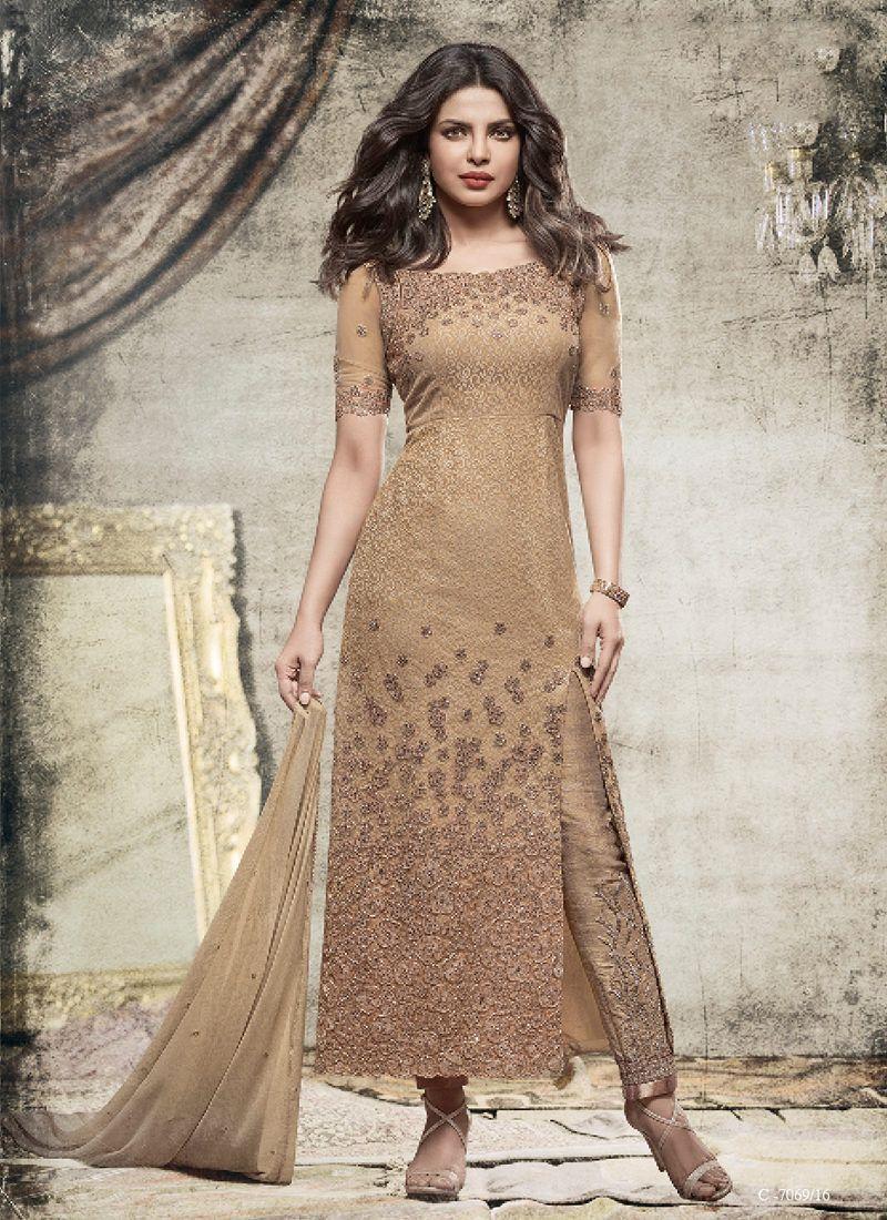 81be65544 Priyanka chopra beige embroidered designer pant suit