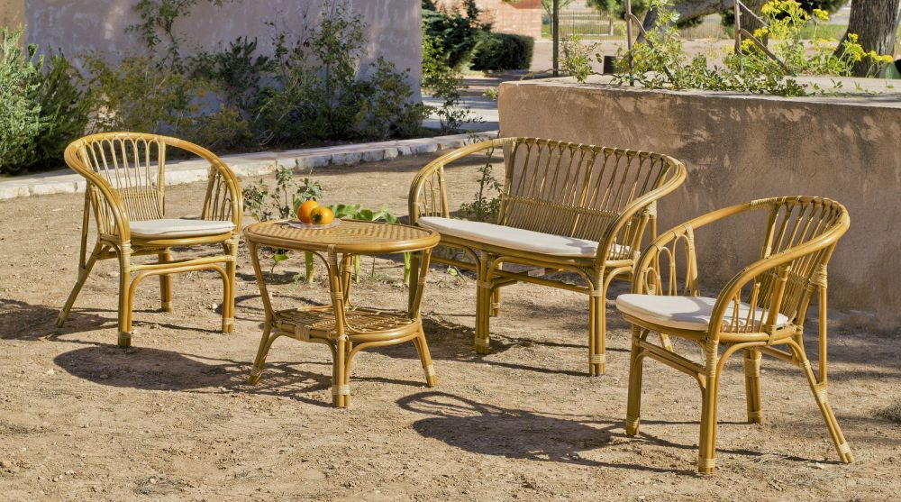 Salon de jardin rotin 1 canap 2 fauteuils 1 table sur for Canape en osier ou rotin