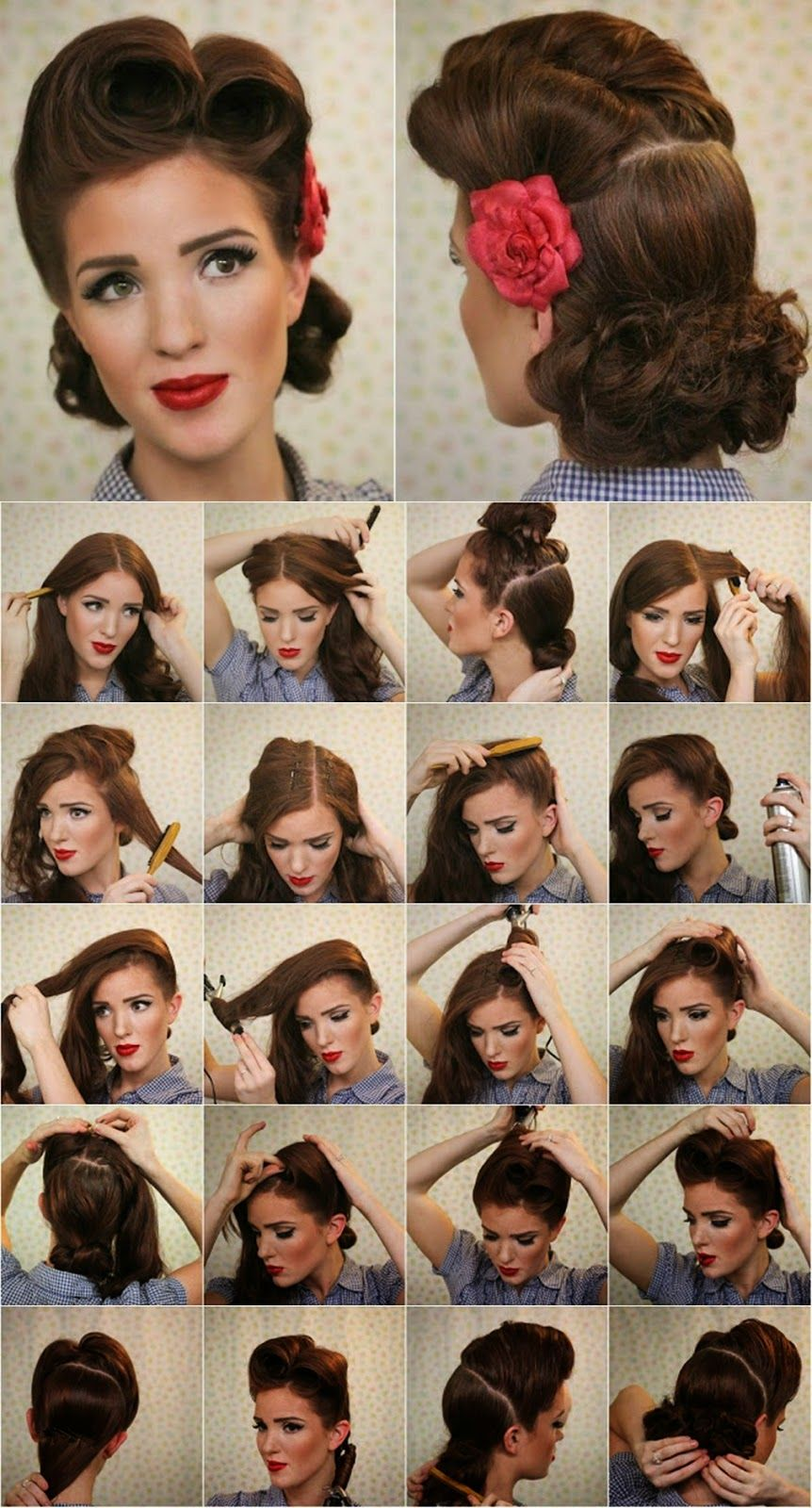vintage look pin-up victory rolls - complete hair style