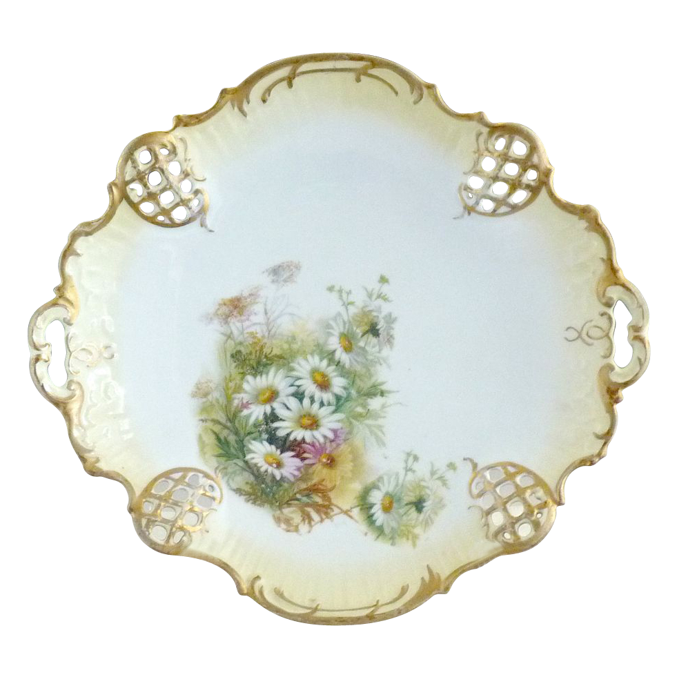 Antique Rosenthal cake plate Moliere daisies BRC mark