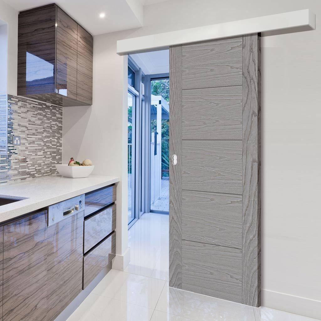 Single Sliding Door Wall Track Vancouver Pearl Grey Flush Door Prefinished Flush Doors Sliding Doors Plates On Wall