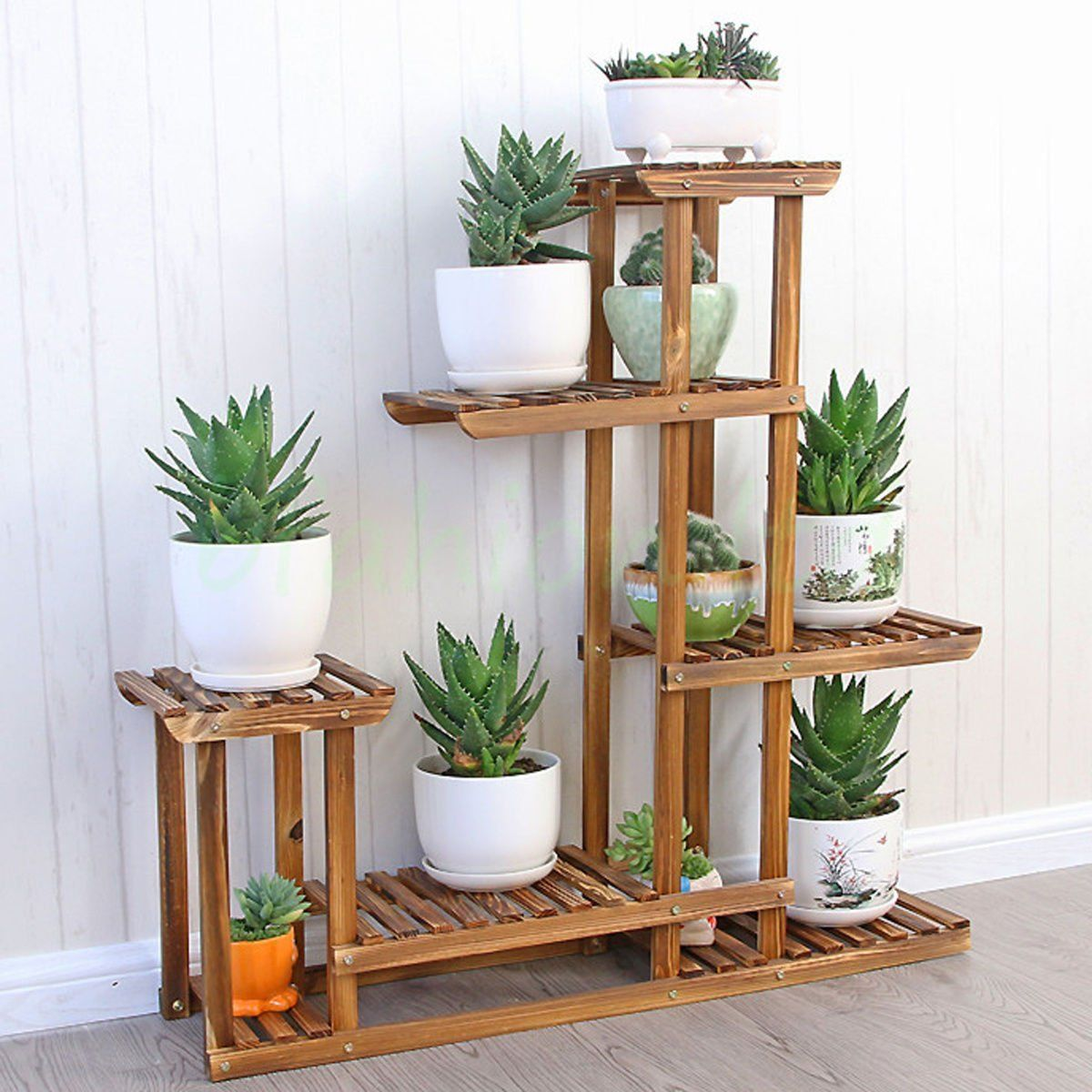 Amazon Garden Pots And Planters Malayas Wooden Plant Flower Display Stand Wood Pot Shelf
