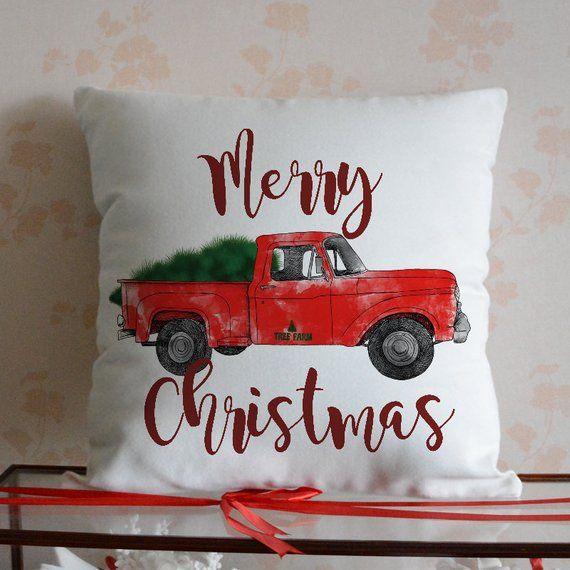 Merry Christmas Pillow Cover Christmas Pillow Case Christmas Decor Christmas Red Truck Pillowcas Christmas Pillowcases Christmas Pillow Covers Christmas Pillow