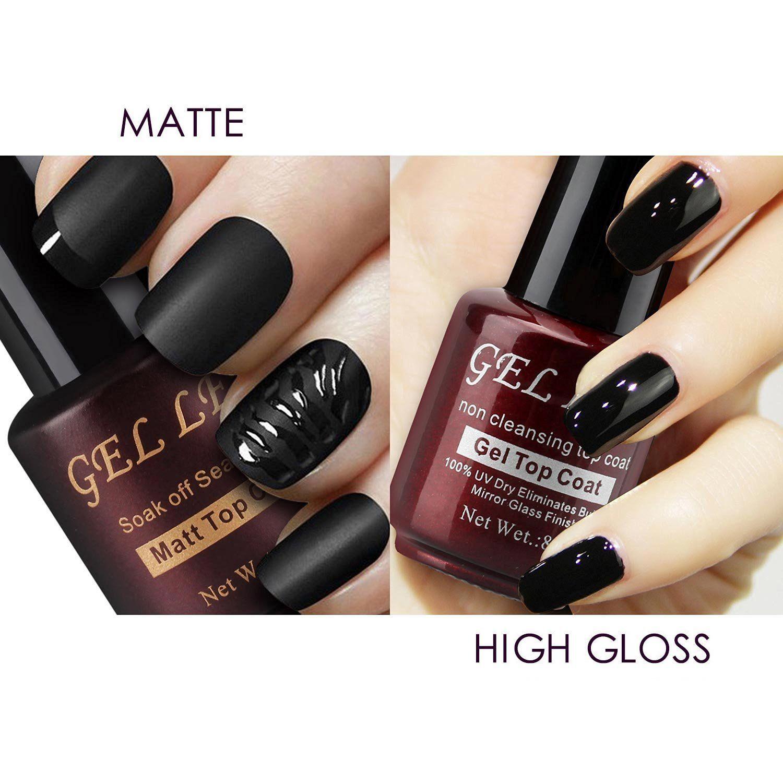 Gellen Matte Top Coat and High Gloss Top Coat Gel Nail Polish Set ...