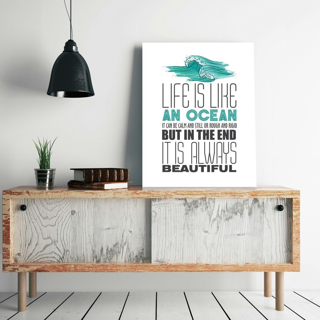 Life is like an oceantypographic poster posters prints wall