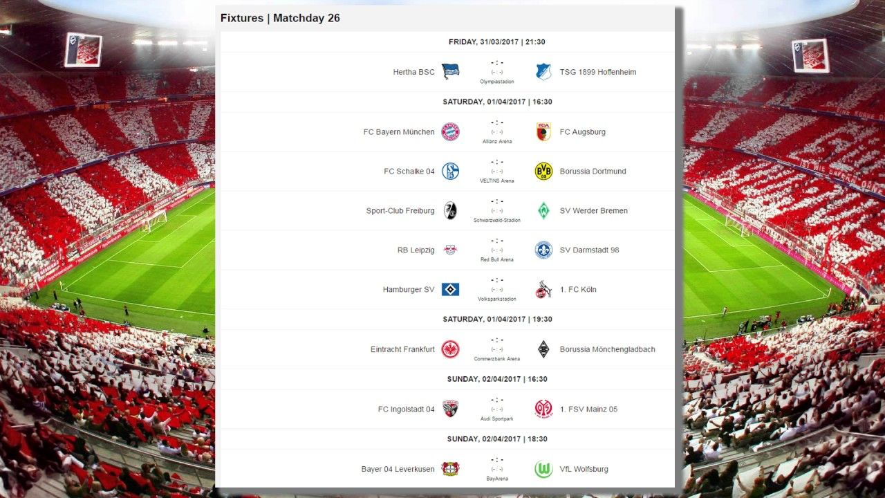 Matchday 25 Results, Table  Fixtures for MD 26 | Bundesliga