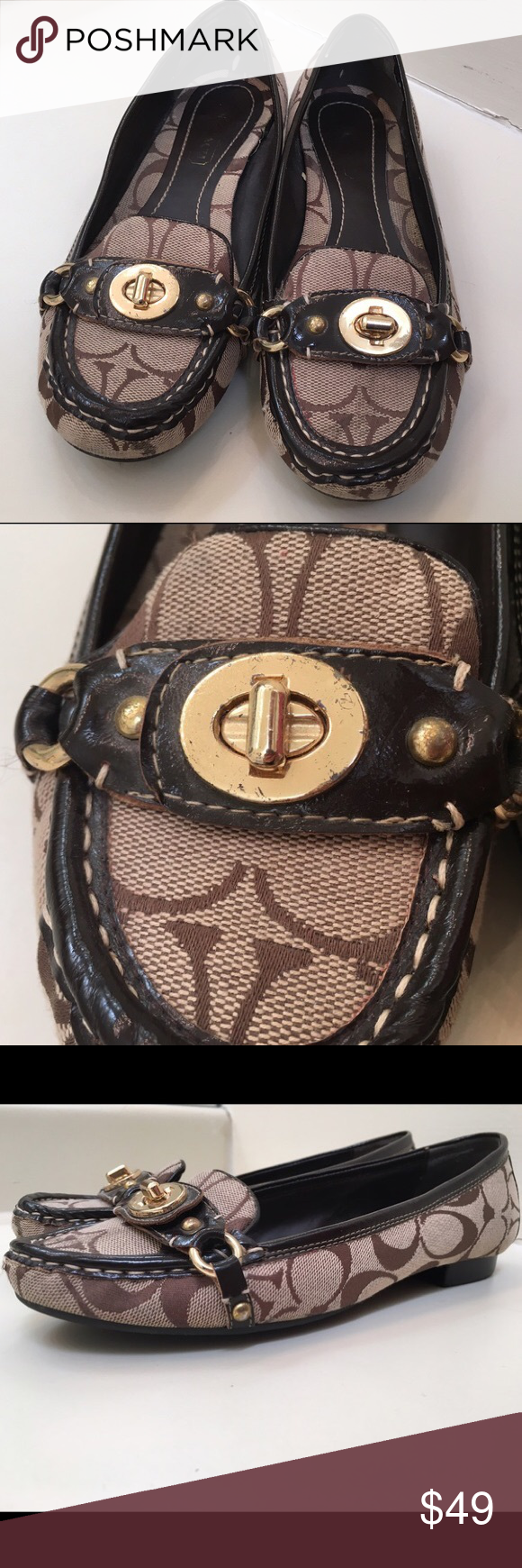 Classic Brown Gold Coach Loafers Size 8 Classic brown Coach loafers, size 8. These are in good condition but the metal has some scratches (see photos). Coach Shoes Flats & Loafers