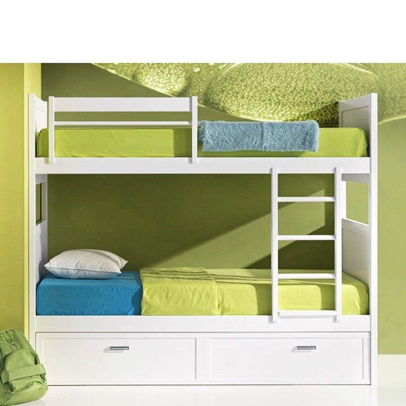 Litera con 3 camas madera haya literas pinterest for Cama nido color haya