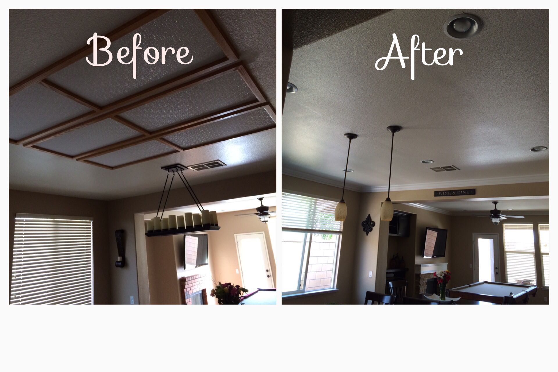 Removed Recessed Fluorescent Lighting And Added 6 Can Lights 3 Drop Kitchen Remodel