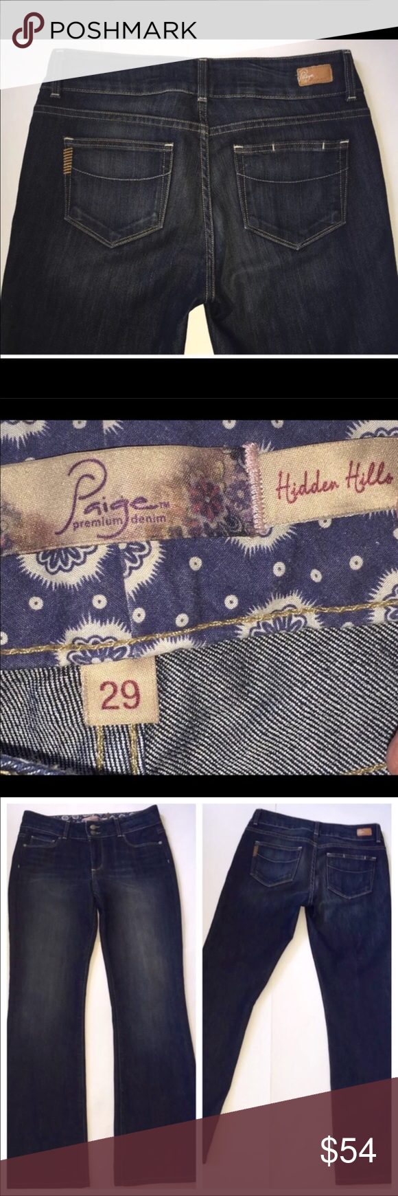 """Paige Hidden Hills whisker wash jeans Condition: Gently used. Waste 30"""".  Hips 32"""". Rise 9"""". Inseam 29 1/2"""" Paige Jeans Jeans Boot Cut"""