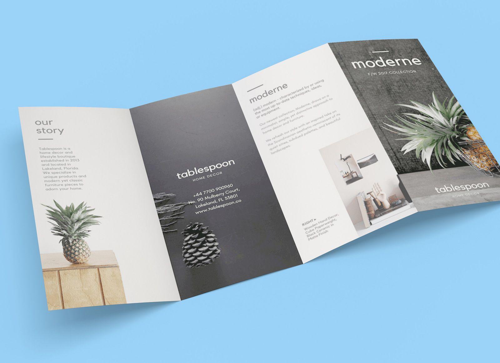 The interesting Free 4 Panel Quad Fold Brochure Mockup Psd