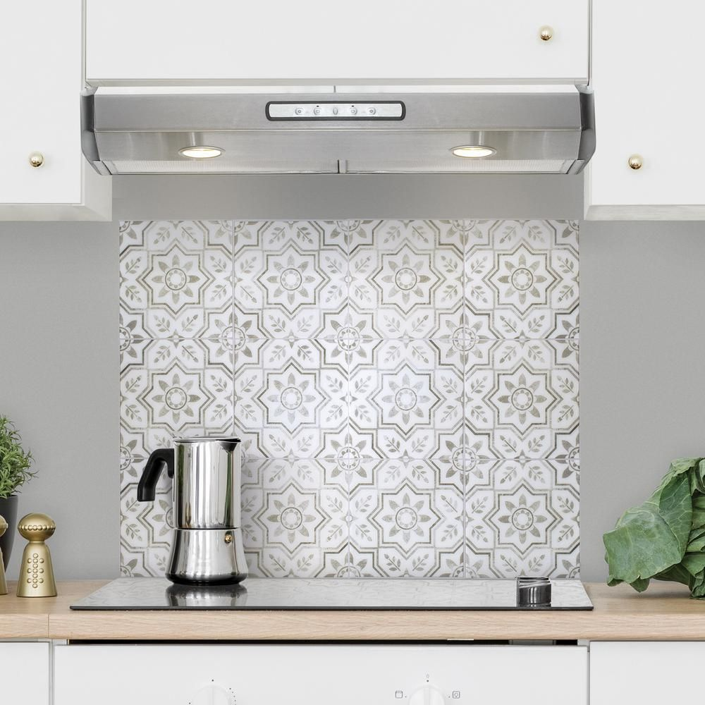 Smart Tiles Kit Kitchen Sicile 22 56 In W X 30 06 In H Gray Peel And Stick Self Adhesive Wall Tile For Cooktop Backsplash 4 Pack Sm7000g 04 Qg The Home Dep Self Adhesive Wall Tiles