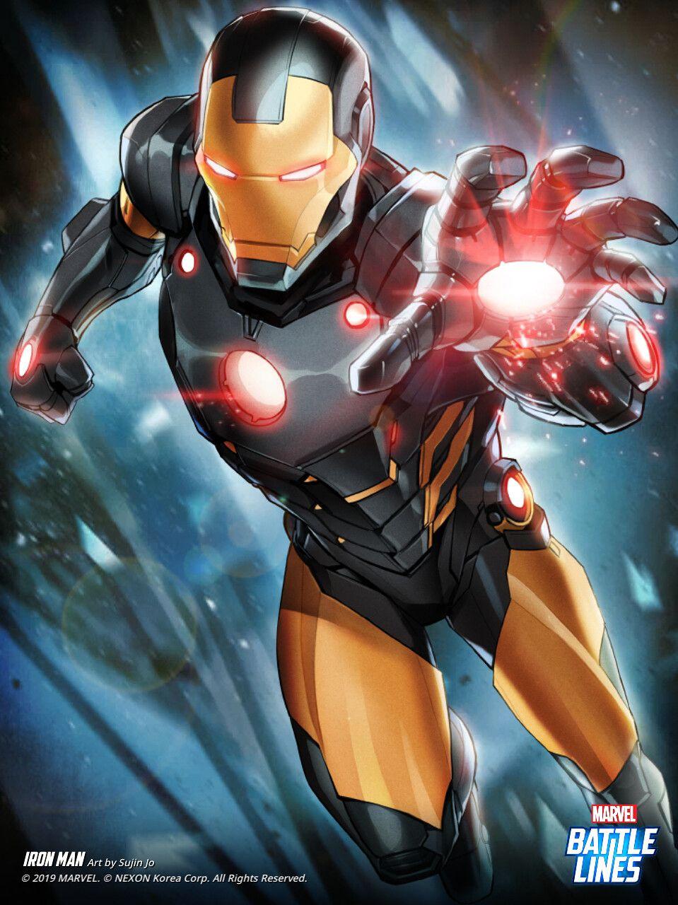 Artstation Marvel Battle Lines Iron Man Black And Gold Armor Sujin Jo Iron Man Armor Iron Man Iron Man Noir