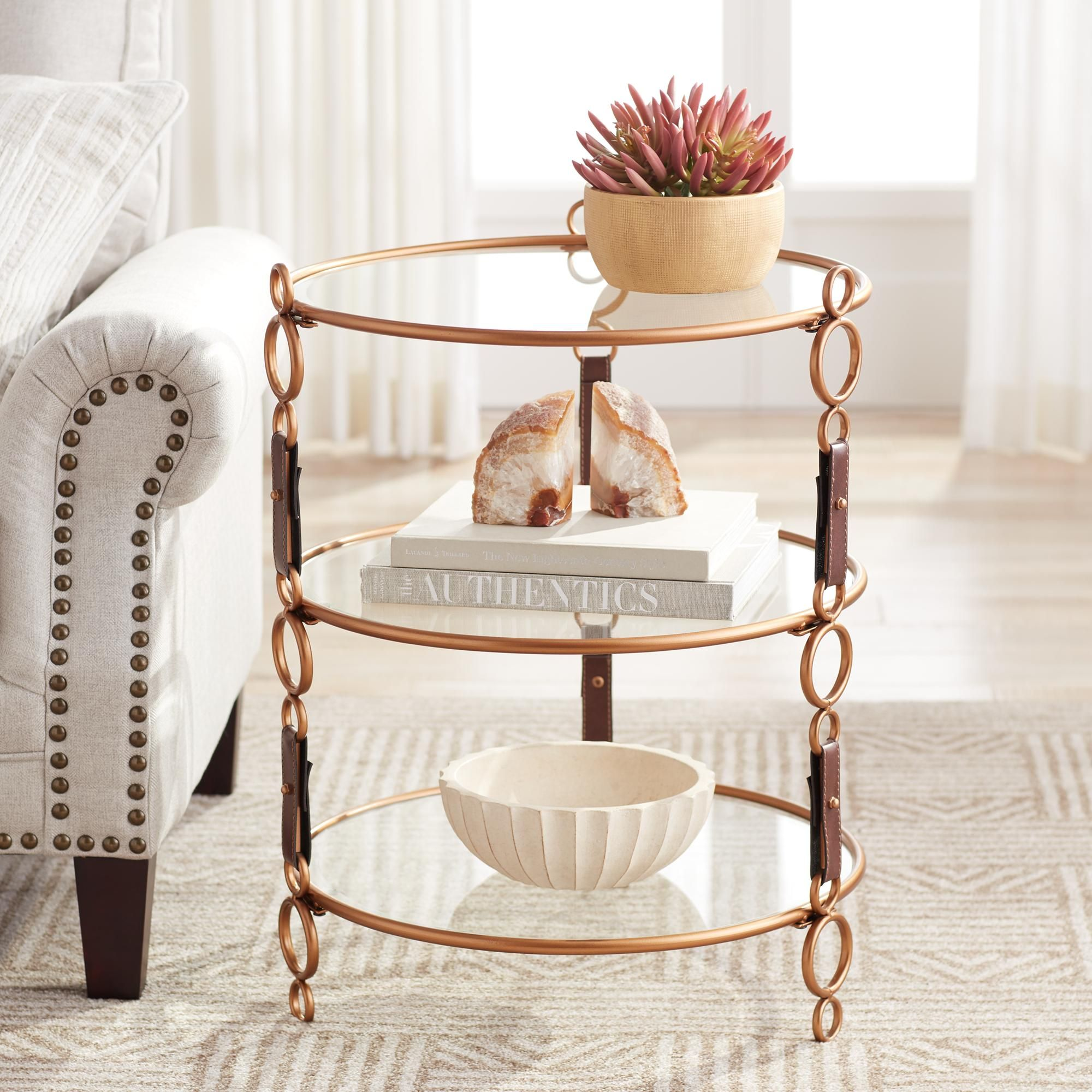Winchester Gold And Faux Leather 3 Tier Glass Accent Table
