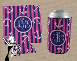 Nautical Monogrammed Koozie with Anchors Beach Koozie, only $11.00