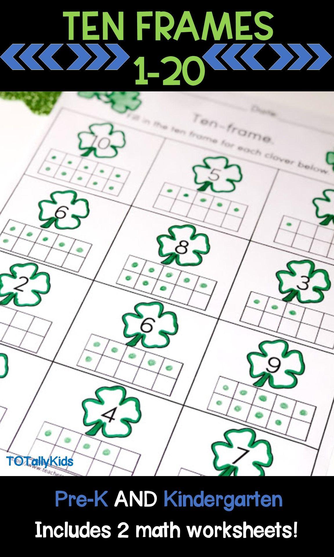 Ten Frames 1 20 Prek Amp Kindergarten Math Worksheets