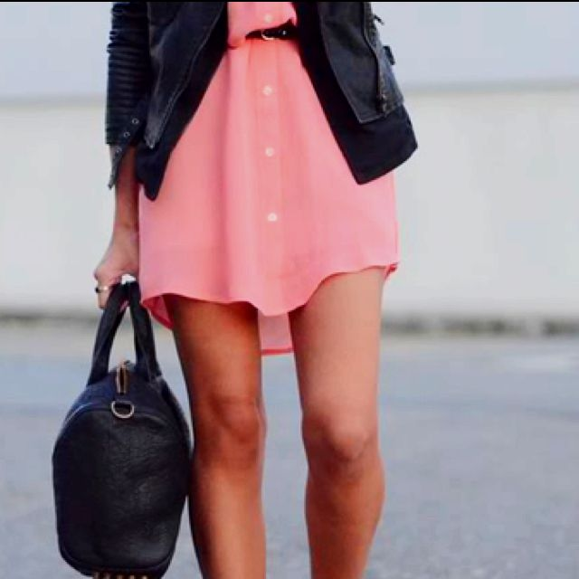 Light pink dress and leather