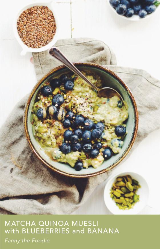 Matcha Quinoa Muesli with Blueberries and Bananas