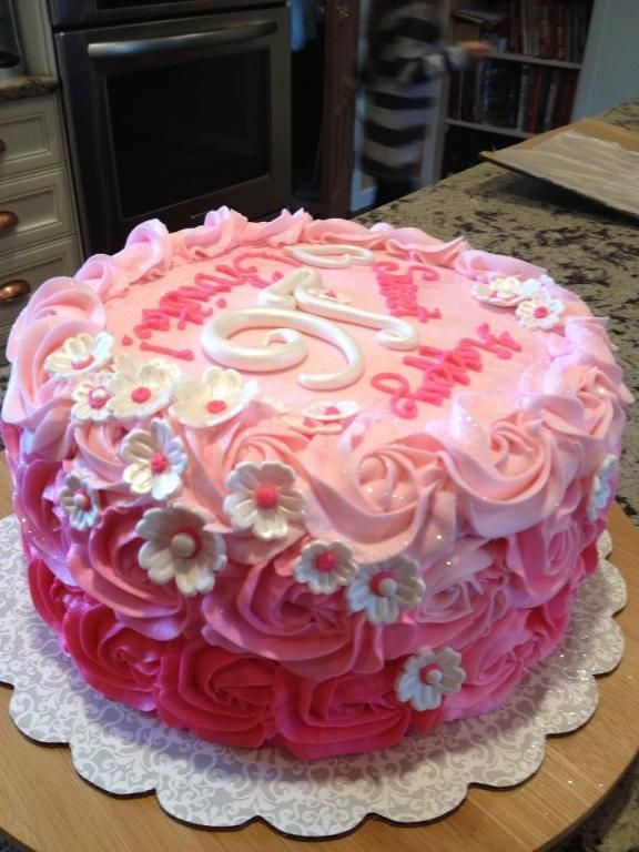 Flower Cakes For Sweet 16 Rosette Ombre Sweet 16 Birthday Cake