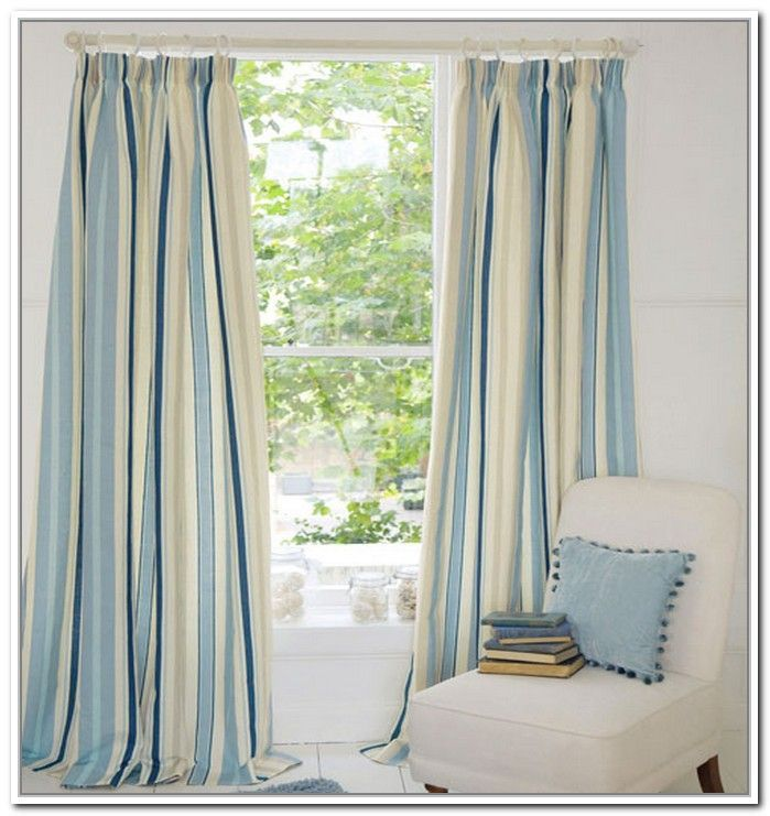 Light Blue And White Striped Curtains Ourcurtainsnet Windows