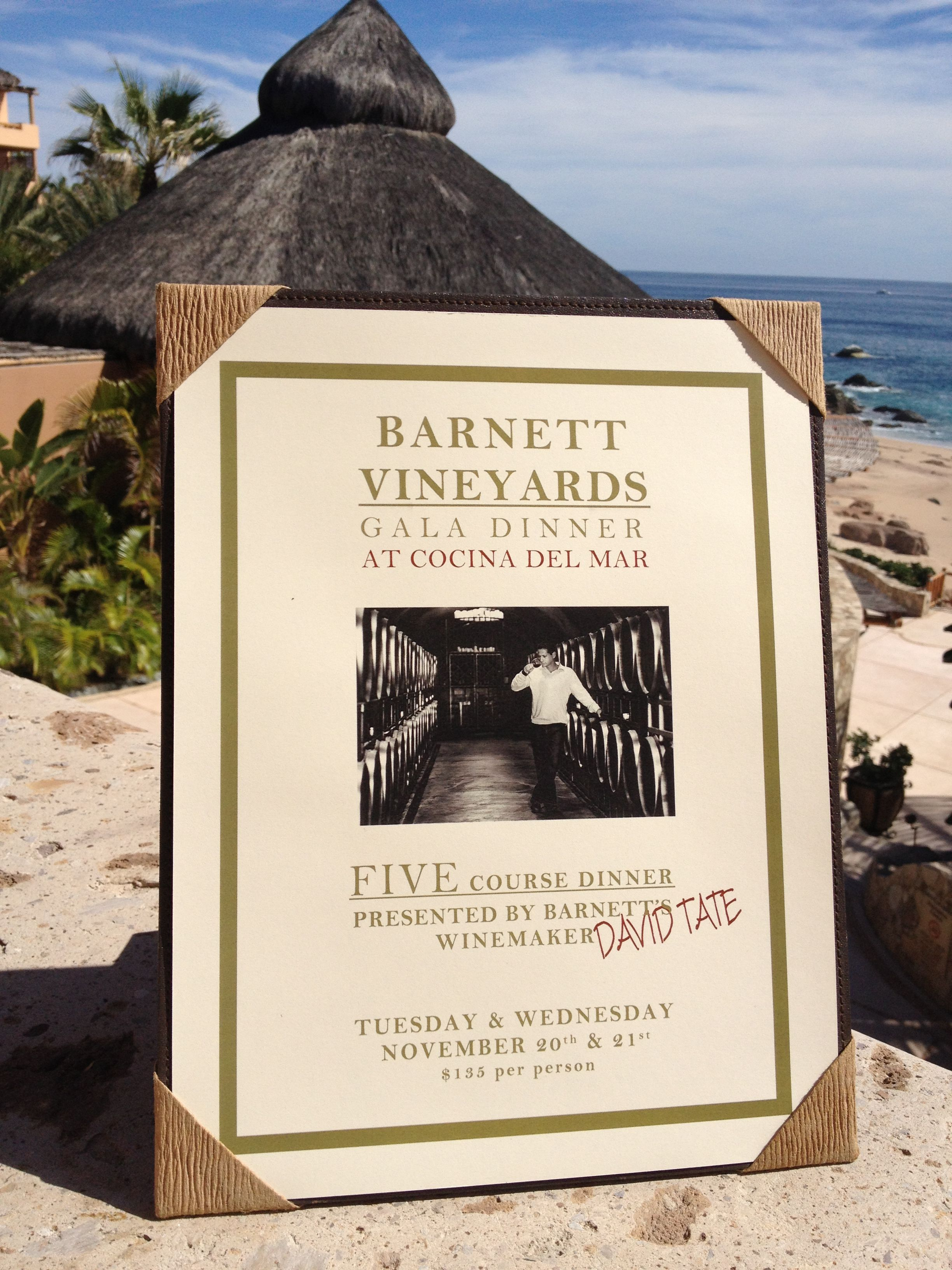 Join us & #BarnettVineyard for a Gala dinner 11/20 and 11/21 at the Cocina del Mar #Cabo