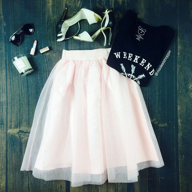 blush tulle skirt with graphic tee