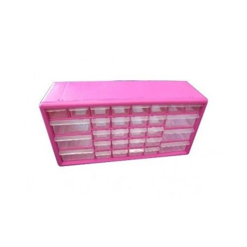 jewelry desk organization ideas pink plastic storage container boxes mugi jewelry makeup artist