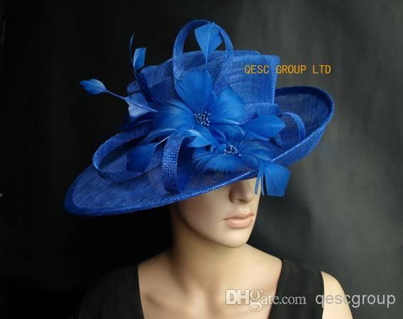 Wholesale Sinamay Hat - Buy Royal Blue Sinamay Hat Formal Church Dress Hat  with Feather Flower for Kentucky Derby 5144b9b74d4