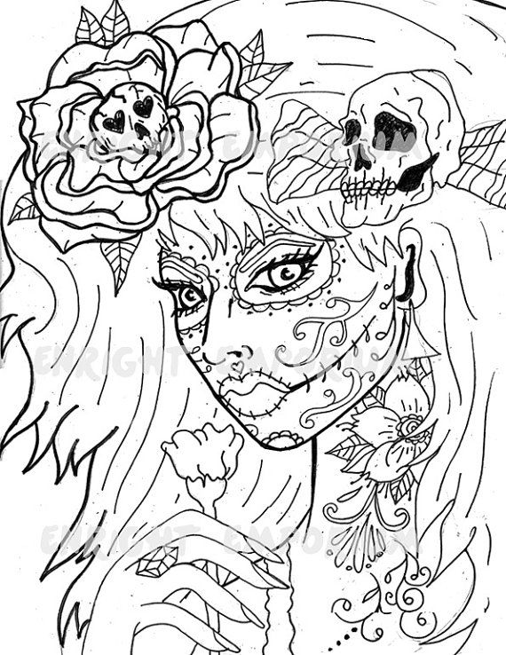 Day Of The Dead Girl Coloring Page Digital Download Animal Coloring Pages Skull Coloring Pages Coloring Pages
