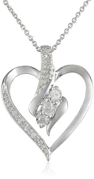 Sterling silver diamond heart pendant necklace with its twists sterling silver diamond heart pendant necklace with its twists turns and shimmering detail mozeypictures Choice Image