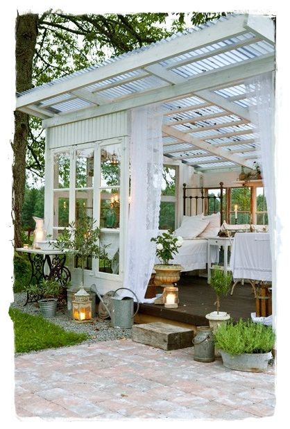 gazebo covered back porch sweet summer rest area white outside patio garden whitewashed cottage. Black Bedroom Furniture Sets. Home Design Ideas