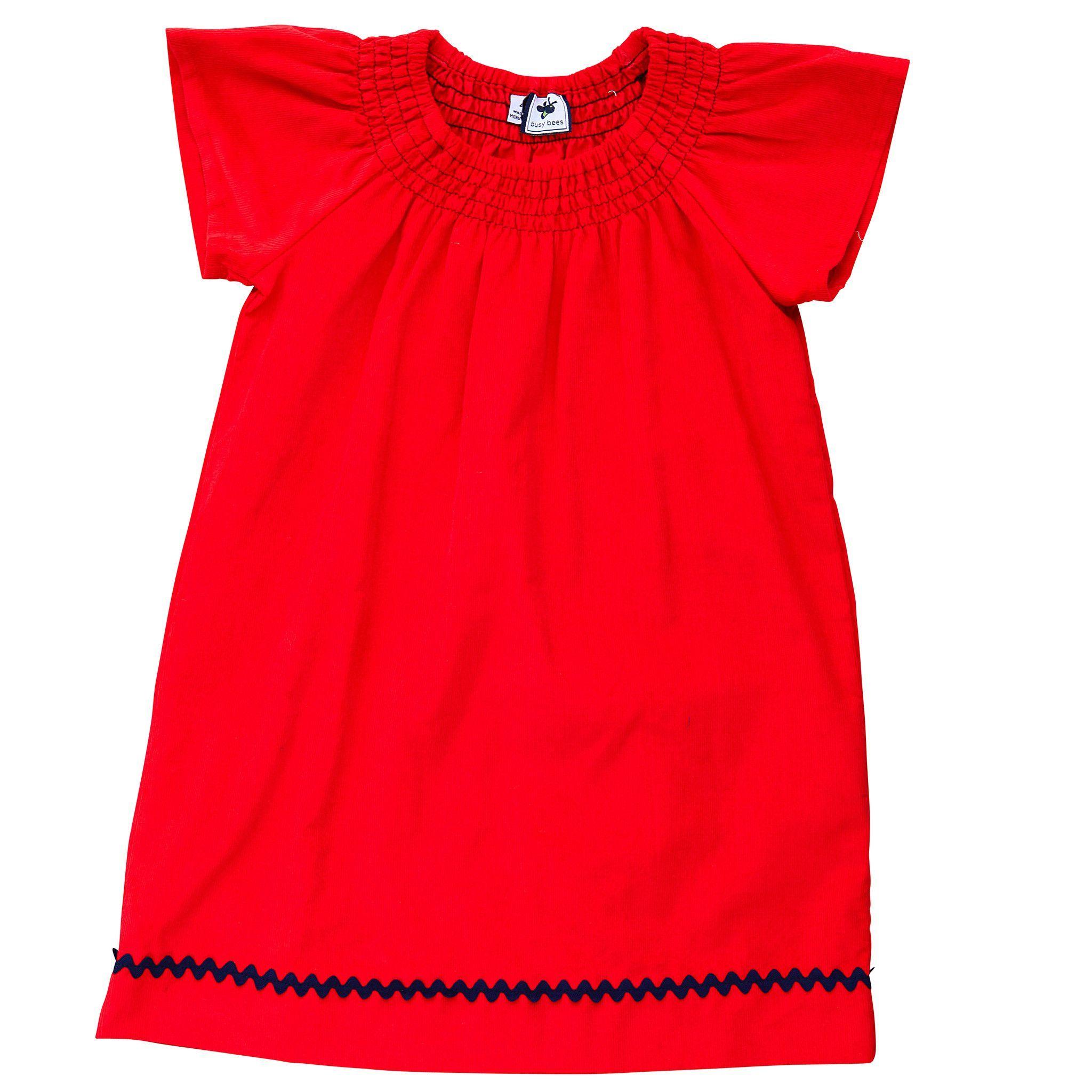 hadley flutter sleeve dress red corduroy