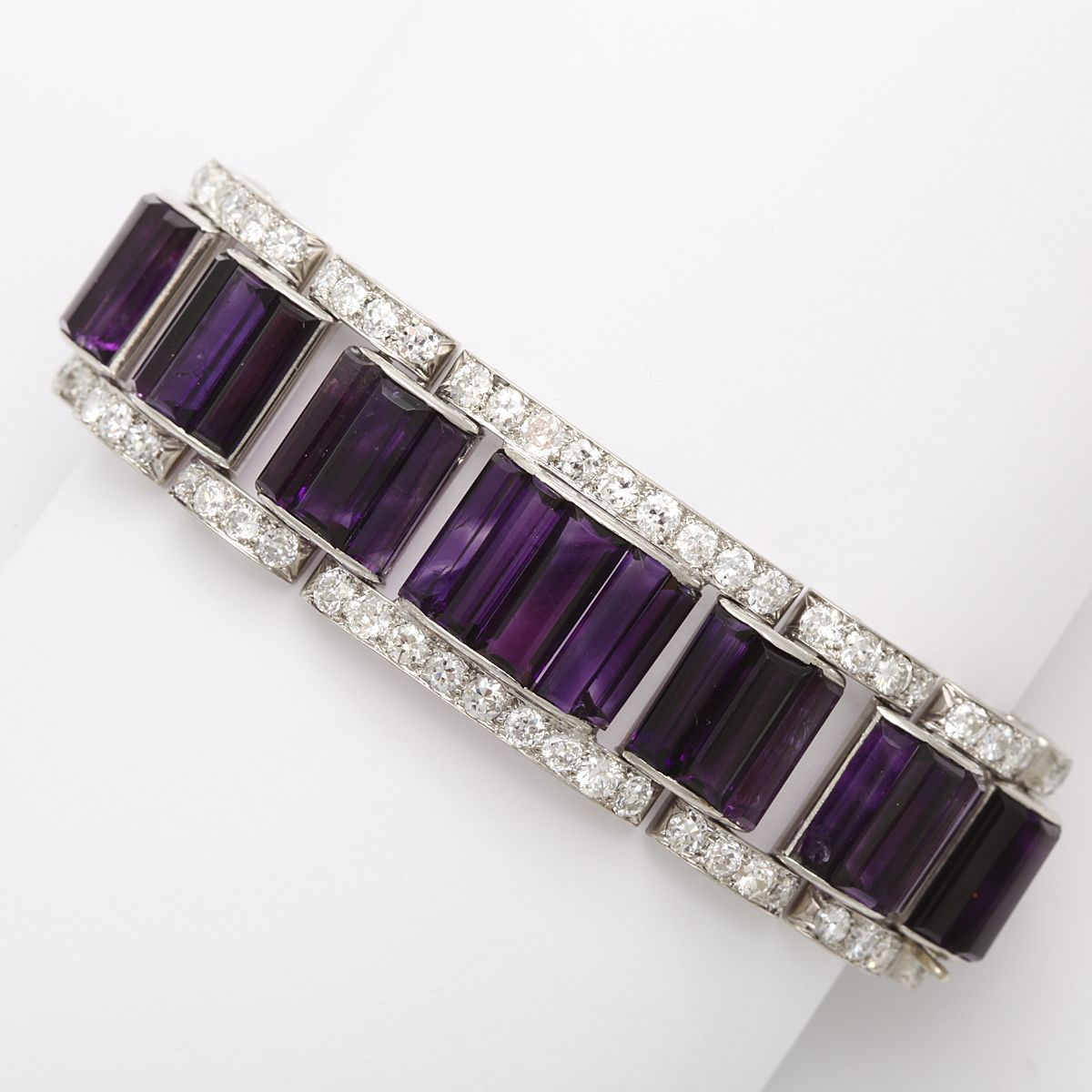 Siberia Platinum: Matched Siberian Amethyst And Diamond Bracelet Mounted In