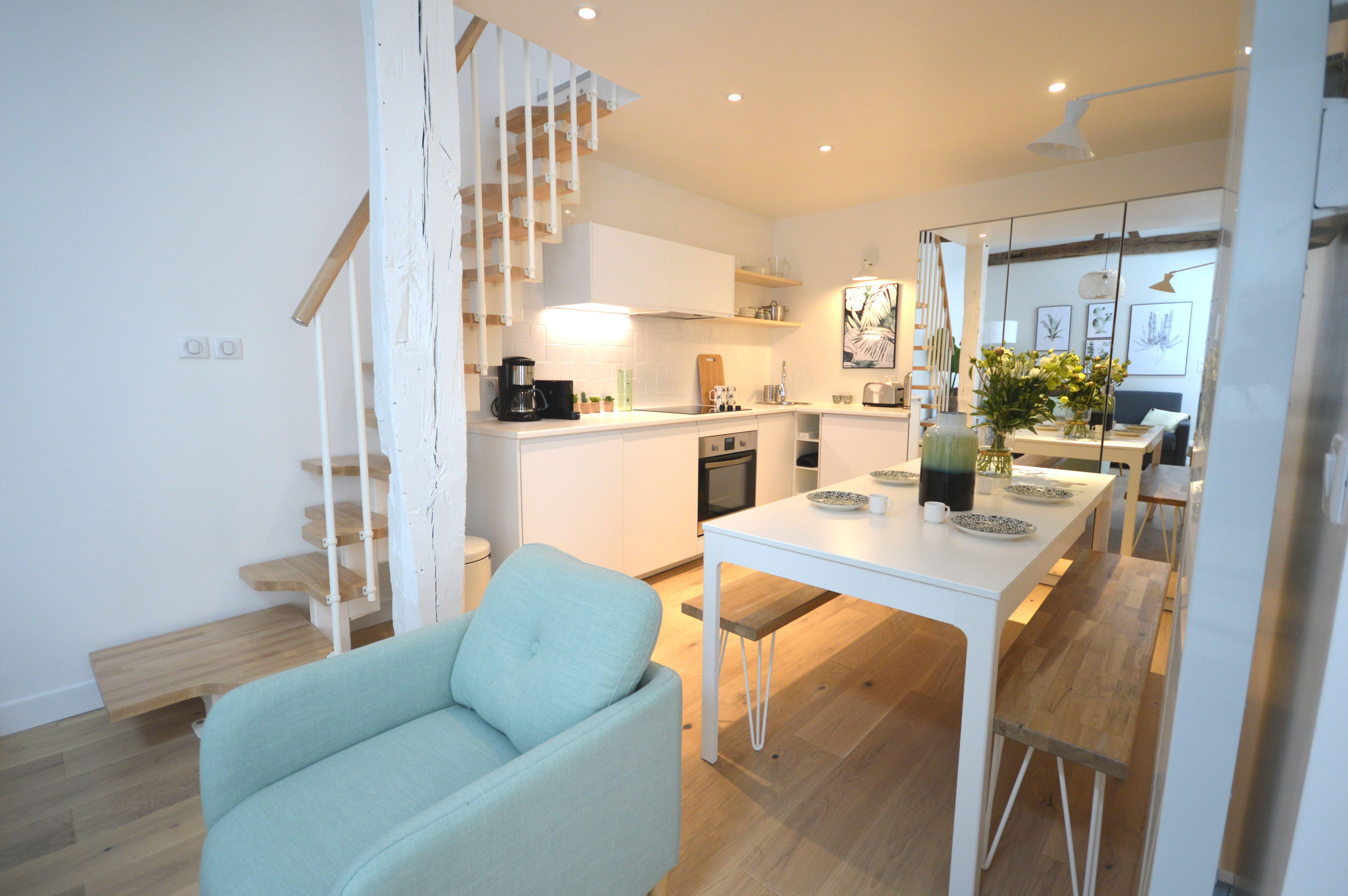 Décoration D Intérieur Dijon appartement#paris#cuisine#scandinave#blanche#verte#poutre