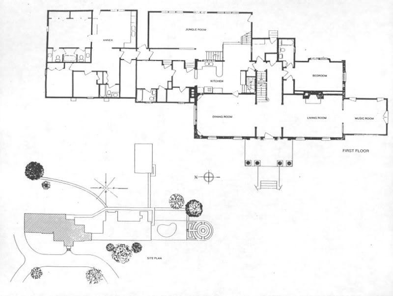 Elvis Presley S Graceland Floor Plan First Floor And Site Plan 800 602 Graceland Graceland Elvis Floor Plans