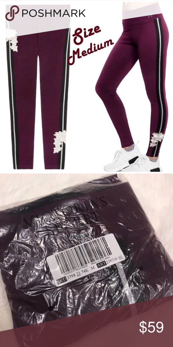 1d851723b2e9bf Victoria's Secret PINK Leggings Embroidered Rose M Brand new Size Medium  Cotton Yoga leggings with silver