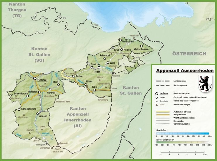 Canton of Appenzell Ausserrhoden map with cities and towns | loving ...