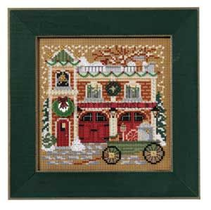 Firehouse, Christmas Village, counted cross-stitch and beading