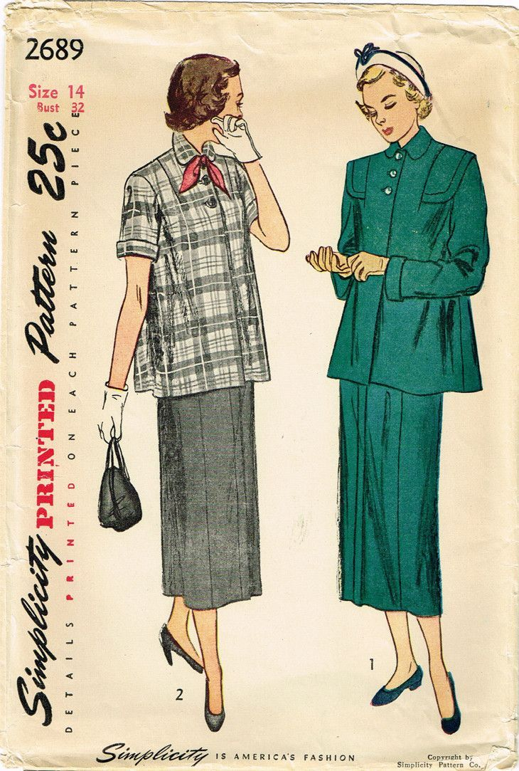 06c8a991c44dc Simplicity Pattern 2689 Misses' Maternity Suit Pattern Dated 1949 Factory  Folded and Unused Nice Condition Overall Size 14 (32