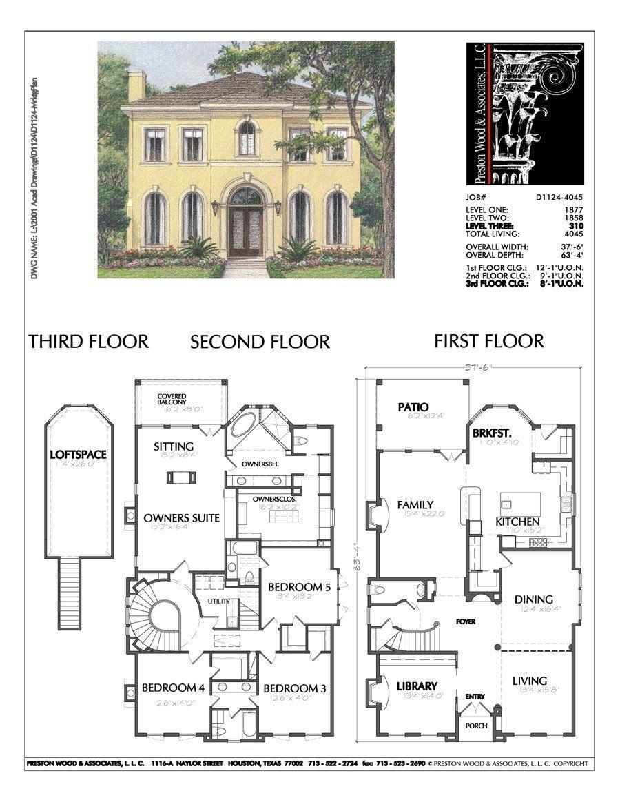 Stock House Design Plans Online Home Floor Plan Custom Residential H Preston Wood Associates Two Story House Plans Vintage House Plans House Blueprints