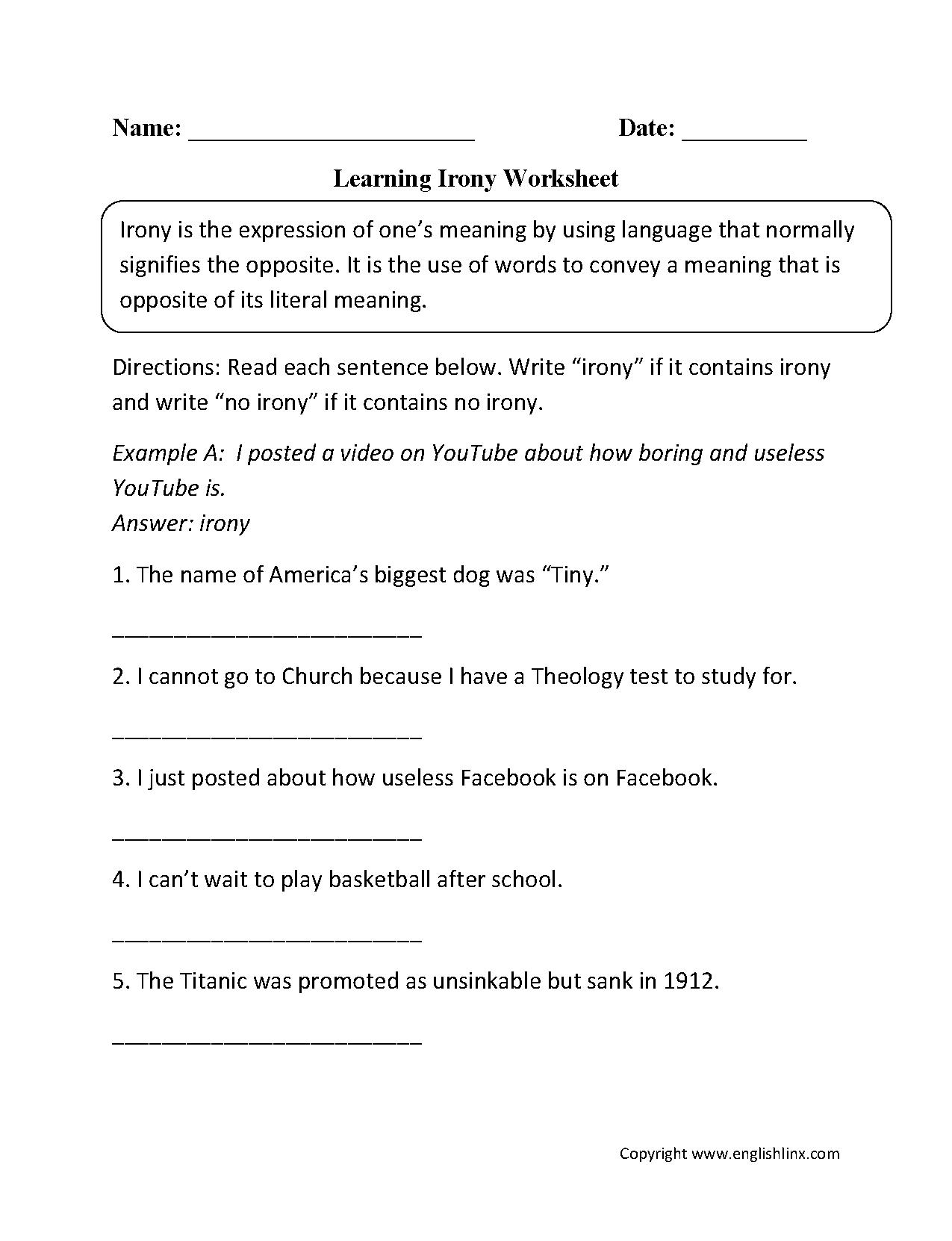 Uncategorized Figurative Language Worksheets 5th Grade learning irony worksheet pinterest figurative language languageworksheets