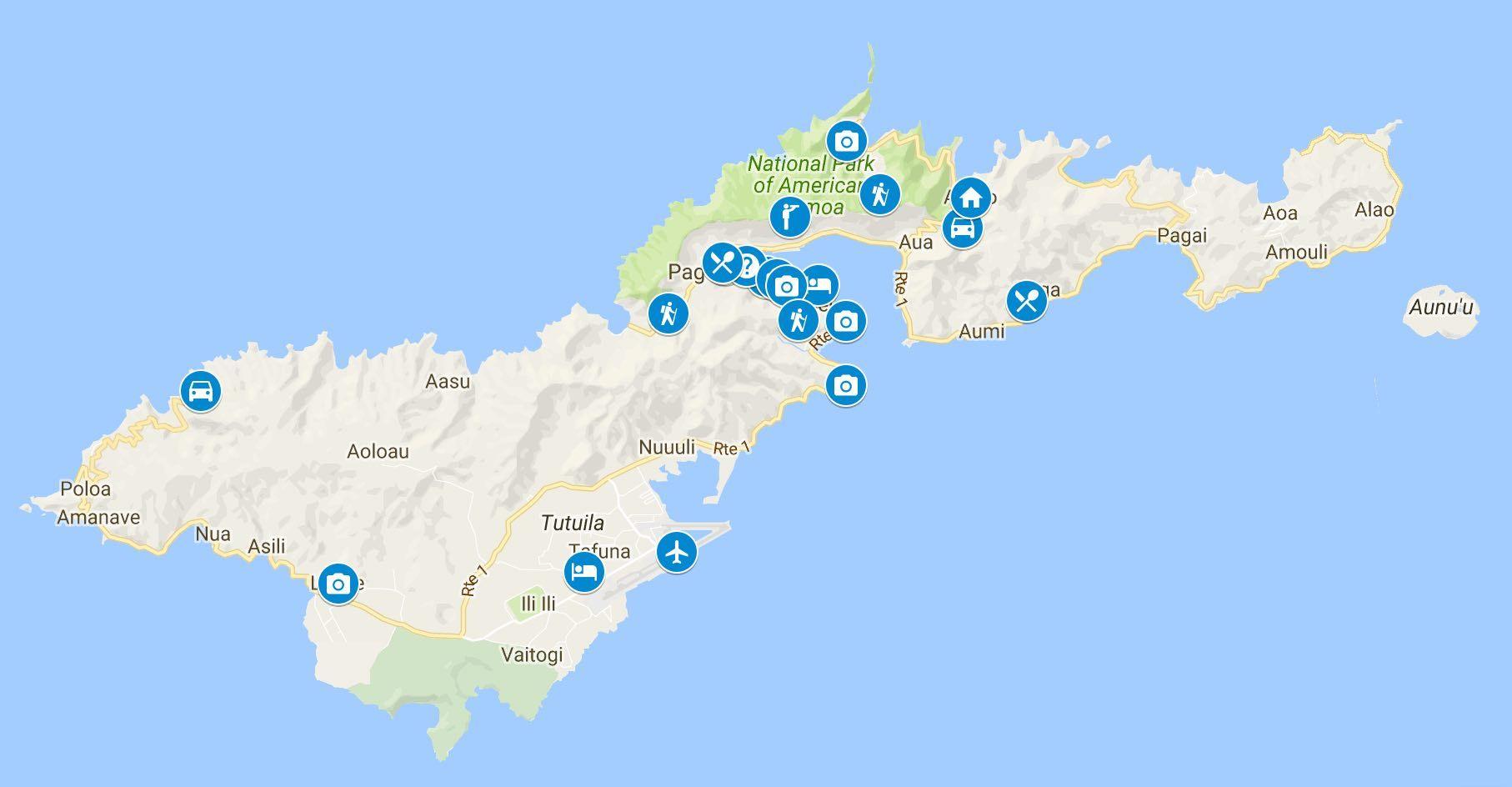 Days In American Samoa Sample Itinerary - Map of american samoa